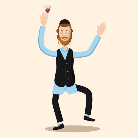 Funny cartoon Jewish man dancing with vine. Vector illustration isolated background
