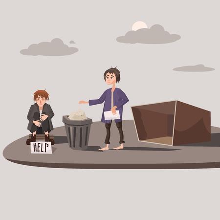 Homeless children asking for help, background cityscape, vector illustration, concept Illustration