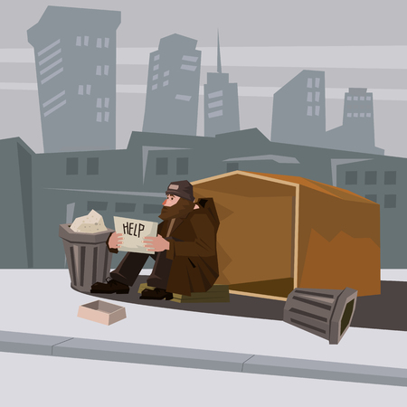 Homeless man with paper sign cartoon style vector illustration. Comic book style imitation. Object On cytiscape background. Conceptual illustration