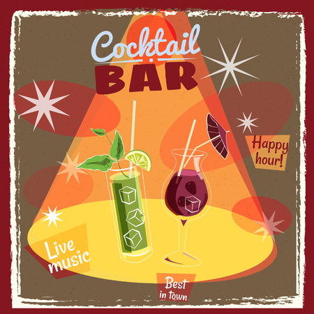 Retro poster design for cocktailbar. Vintage poster, happy hour, card for bar or restaurant. Vector, isolated
