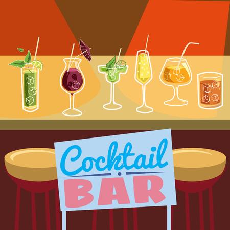 Retro poster design for cocktailbar. Vintage poster, card for bar or restaurant. Vector, isolated