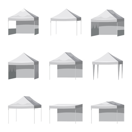 Set Canopy shed overhang awning mockup set. Cartoon style illustration of 9 canopy shed overhang awning mockups