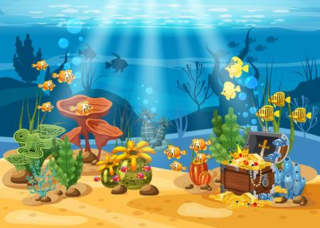 Tesoro sottomarino, scrigno in fondo all'oceano, oro, gioielli sul fondo del mare. Paesaggio sottomarino, coralli, alghe, pesci tropicali, vettore, stile cartone animato, isolato
