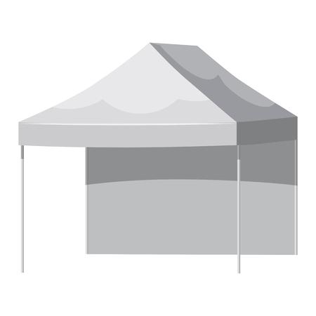 Pabellón blanco o carpa, ilustración vectorial. Maqueta para su diseño.