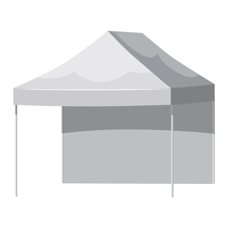 White canopy or tent, vector illustration. Mockup for your design. Illustration