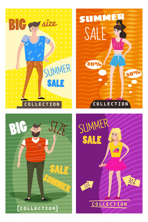 Set of sale cards of young men s and women s clothes, different sizes, discounts, new collection, big size, vector, illustration  イラスト・ベクター素材