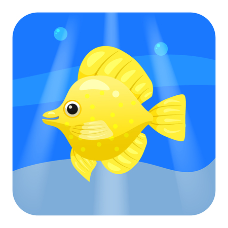 Exotic tropical fish isolated on seae background. Vector cartoon illustration isolated