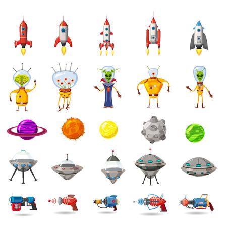 Super Set von Raum, Planeten, UFO, Raketen, Aliens, Blaster, für Spiele, Anwendungen, Werbung, Poster, Animation, Vektor, isoliert, Cartoon-Stil, weißer Hintergrund