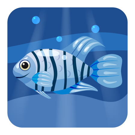 Cute beautiful tropical fish, on sea background, ocean, vector isolated 向量圖像