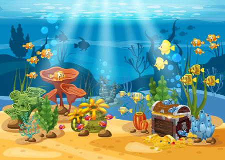 Tesoro submarino, cofre en el fondo del océano, oro, joyas en el fondo marino. Paisaje submarino, corales, algas, peces tropicales, vector, estilo de dibujos animados, aislado Foto de archivo