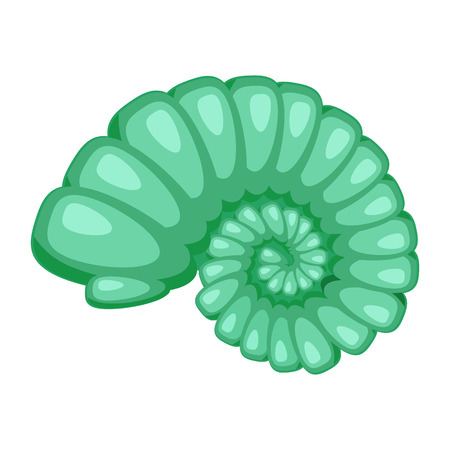 Cute bright green cartoon seashell icon. Colorful shellfish symbol isolated on white background. Cartoon style. Vector illustration.