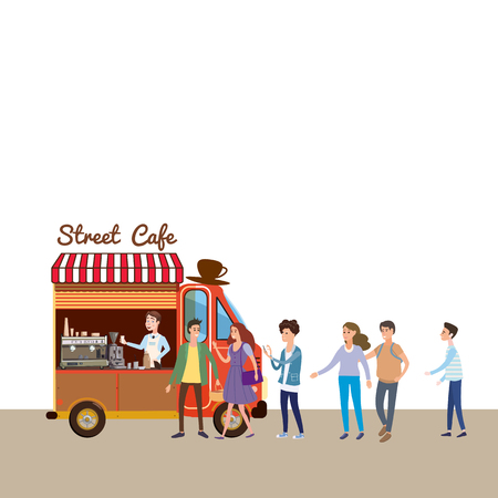 Mobile food Van, Coffe Food Truck vector, barista salesman, characters, men and women stand in line for coffee, and snacks, illustration Vettoriali