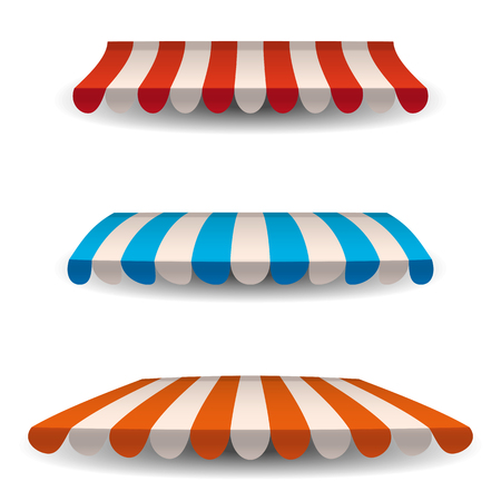 A set of striped awnings, canopies for the store. Awning for the cafes and street restaurants. Vector illustration isolated on white background.