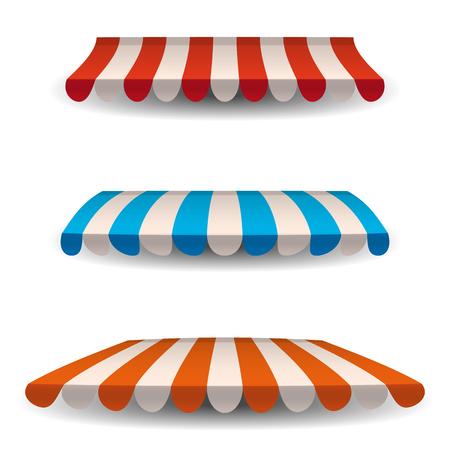 Una serie di tende da sole a strisce, tettoie per il negozio. Tendalino per bar e ristoranti di strada. Illustrazione vettoriale isolato su sfondo bianco.