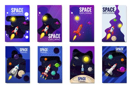 Establecer tarjetas de viaje de cohetes espaciales, exploración del universo, otros planetas, cohetes voladores, estrellas de galaxias distantes, plantilla de flyear, revistas, carteles, portadas de libros, pancartas. Vector, banner, ilustración, aislado. Ilustración de vector