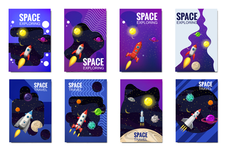 Set space rocket travel cards, exploration of the universe, other planets, flying rockets, stars of distant galaxies, template of flyear, magazines, posters, book cover, banners. Vector, banner, illustration, isolated.