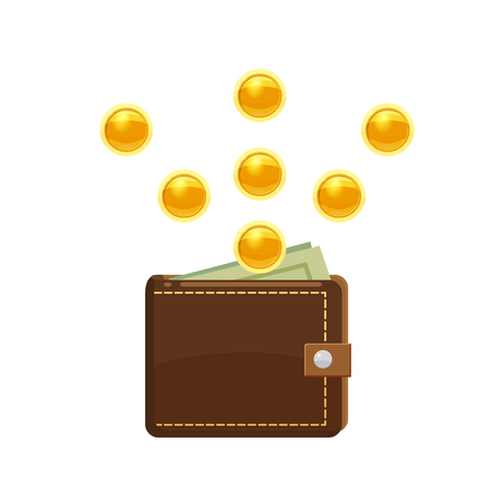 Golden coins and wallet with dollars bank notes in purse. Saving money concept.
