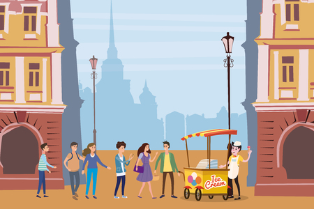 Ice cream seller, cart, outdoor composition, city, with male and female characters, teenagers standing in line for ice cream, urban scene Ilustrace