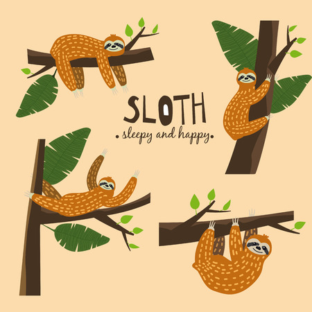 Set Cute funny sloth hanging on the tree. Sleepy and happy. Adorable hand drawn cartoon animal illustration. Cute sloth for greeting card, invites, poster, banner, t-shirt print, background,isolated