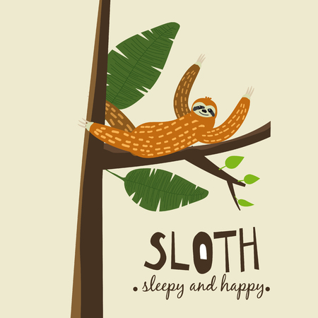 Cute funny sloth hanging on the tree. Sleepy and happy. Adorable hand drawn cartoon animal illustration. cute sloth for greeting card, invites, poster, banner, t-shirt print, background,isolated