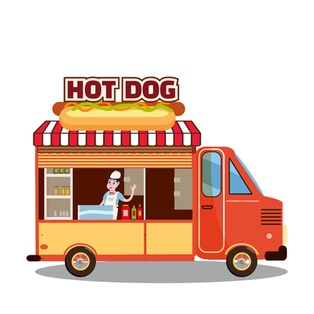 Cartoon fast-food car with a big Hot Dog on a white background