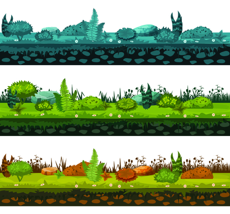 Set of different types of of soil and land with different types of vegetation, grass, foliage for development of ui games