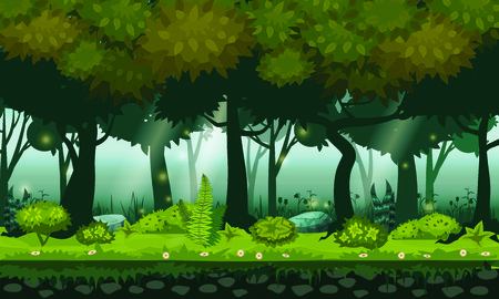 Fairy background forest. Bright forest woods, silhouttes, trees with bushes, ferns and flowers