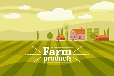 Lindo paisaje rural con granja. Estilo de dibujos animados, vector