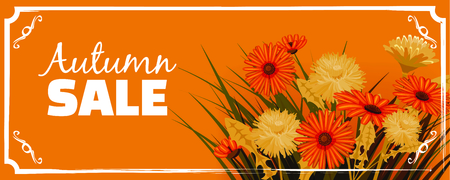 Sale, Autumn flowers, Fall, leaves, banner, flyers, card, autumn colors, template, vector, illustration, isolated
