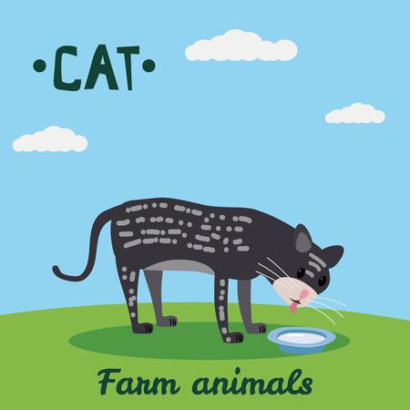 Cute Cat drink milk, farm animal character, farm animals, vector illustration on field background. Cartoon style, isolated