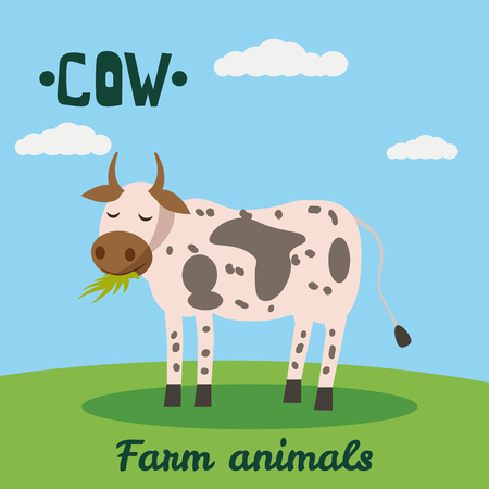 Cute Caw farm animal character, farm animals, vector illustration on field background. Cartoon style, isolated