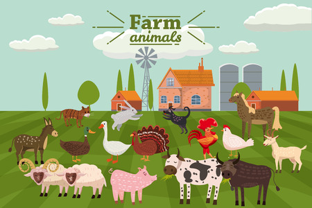 Farm animals and birds set in trendy cute style, including horse, cow, donkey, sheep, goat, pig, rabbit, duck, goose, turkey roosterram dog cat bull and chicken Illustration