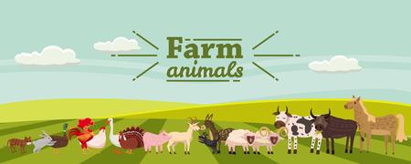 Animali da fattoria e uccelli ambientati in uno stile carino alla moda, tra cui cavallo, mucca, asino, pecora, capra, maiale, coniglio, anatra, oca, tacchino gallo cane gatto toro e pollo