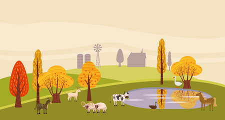 A countryside rural landscape lake autumn with animals, barn, windmill, haystacks, pond, silage towers, isolated. Farm modern flat cartoon