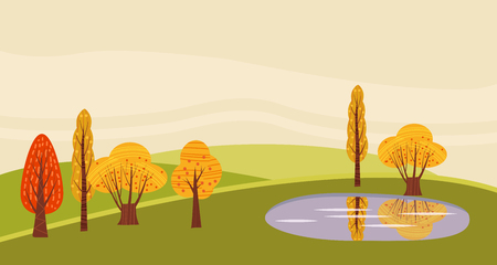 A countryside rural landscape lake, utumn with, barn, windmill, haystacks, pond, silage towers, isolated. Farm modern flat cartoon design style vector illustration on green background with place for text.