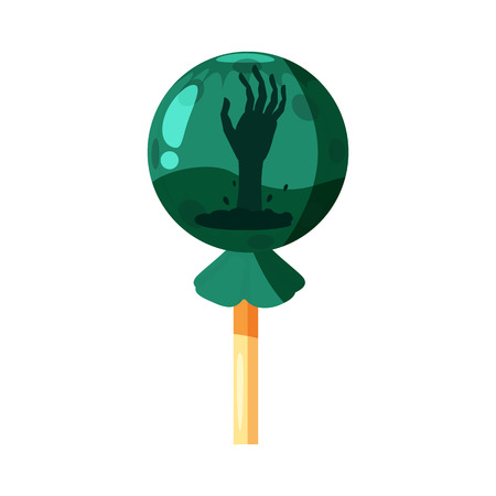 Colored sweets, lollipop, hard candy, caramel Halloween feast. Green color with elements of the holiday Halloween, hand from the earth