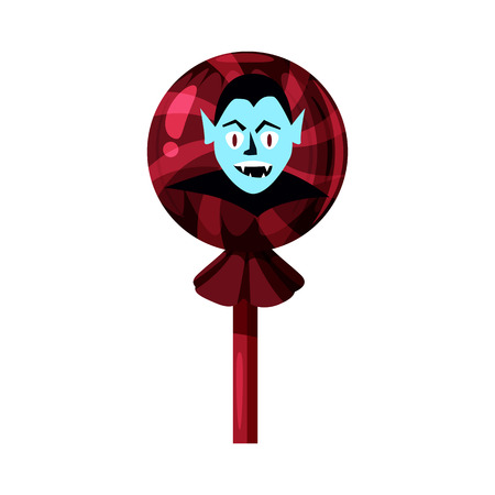 Colored sweets, lollipop, hard candy, caramel Halloween feast. Red color with elements of the holiday Halloween, Vampire character