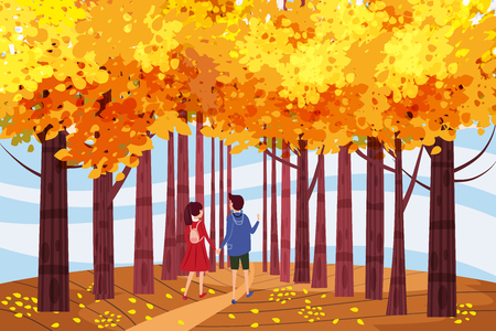 Hello autumn, Autumn alley, couple guy and girl characters walking along the path in the park, fall, autumn leaves