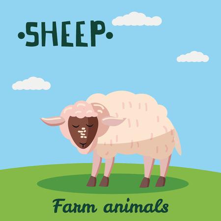 Cute Sheep farm animal character, farm animals, vector illustration on field background. Cartoon style, isolated Ilustração