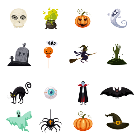 Set of halloween feast, collection of attributes halloween Çizim
