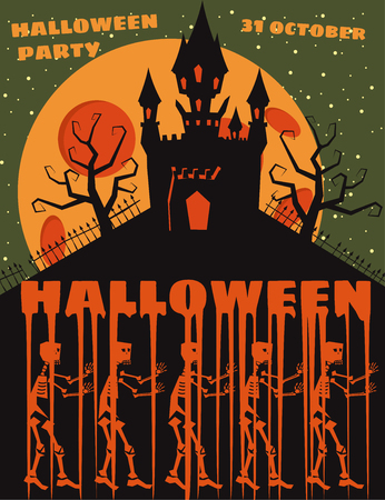Halloween background with semetery and sceletons, haunted castle, house and full moon