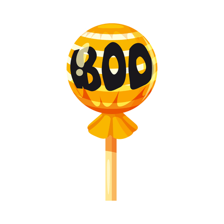 Colored sweets, lollipop, hard candy, Boo, caramel, Halloween holiday. Vector, isolated, cartoon style Stock Photo