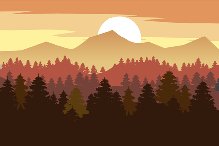 Forest, mountains, silhouettes of pine trees, firs panorama horizon Vector Illustratie