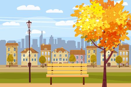Autumn city park at sunset. Wooden bench, vintage street lights, colorful trees, defoliation, city buildings, setting sun, Vetores