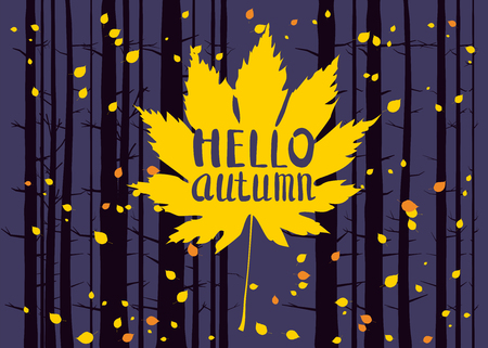Hello autumn, lettering on an autumn leaf, fall, background landscape forest, tree trunks, template for banner, poster, vector, illustration, isolated