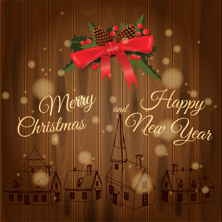 Merry Christmas and Happy New Year greeting card with Chrirstmas decorations fir cones, holly berry on wood boards. Wood burning rural houses. Vector illustration, baner, poster