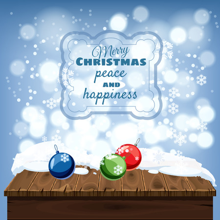Merry Christmas greeting card, old table covered with snow, , Christmas balls decorations