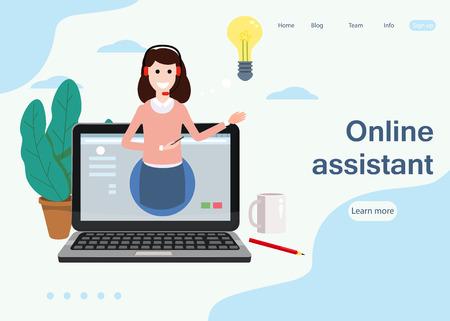 Concepto asistente en línea de página web, cliente y operador, centro de llamadas, soporte técnico global en línea 24-7