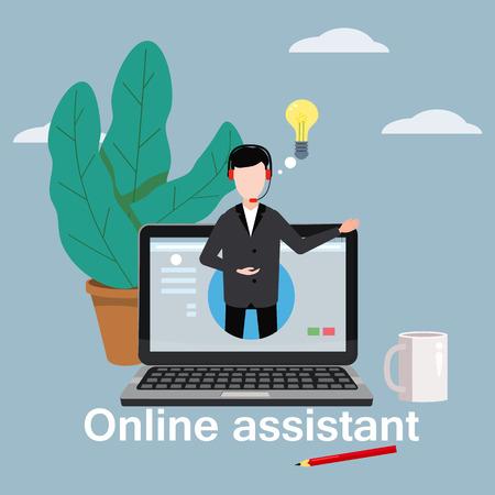 Concepto de asistente en línea, cliente y operador, centro de llamadas, soporte técnico global en línea 24-7.