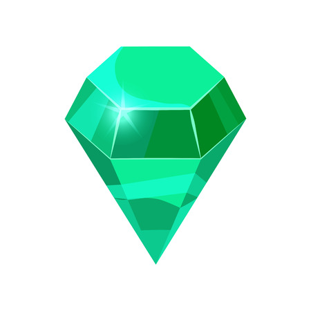 Diamond sparkling, shining green color isolated